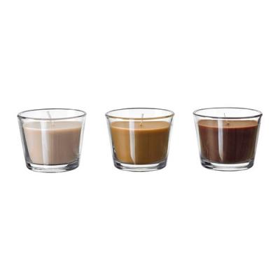 شمع سه تایی قهوه ای عطری ایکیا BRACKA