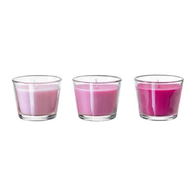 شمع سه تایی صورتی عطری ایکیا BRACKA