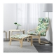 فریم صندلی راحتی خودرنگ و تشک گلدار سبز ایکیا POANG