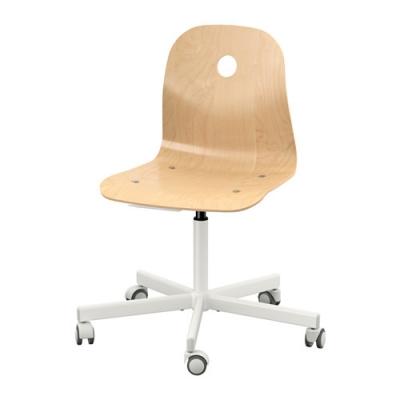 صندلی چرخشی سفید با روکش توس ایکیا VAGSBERG
